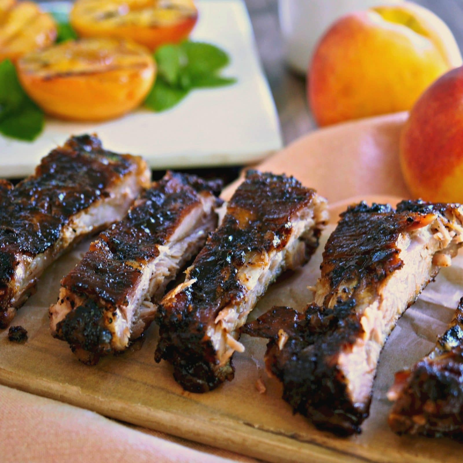 Peach Bourbon Baby Back Ribs - Simply Sated
