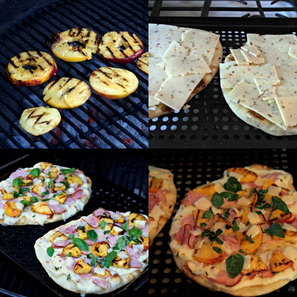 Grilled Peach & Pepper Jack Pizza (EASY) flatbread topped with Sargento Pepper Jack & Provolone Cheese slices, grilled peaches, deli ham, basil & honey. Simply Sated