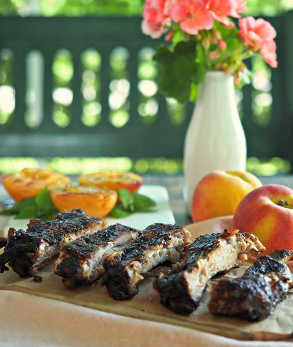 Peach Bourbon Baby Back Ribs. The BEST RIBS EVER!! Perfectly seasoned, fall-off-the-bone, tender ribs baked then grilled with peach bourbon barbecue sauce. Simply Sated