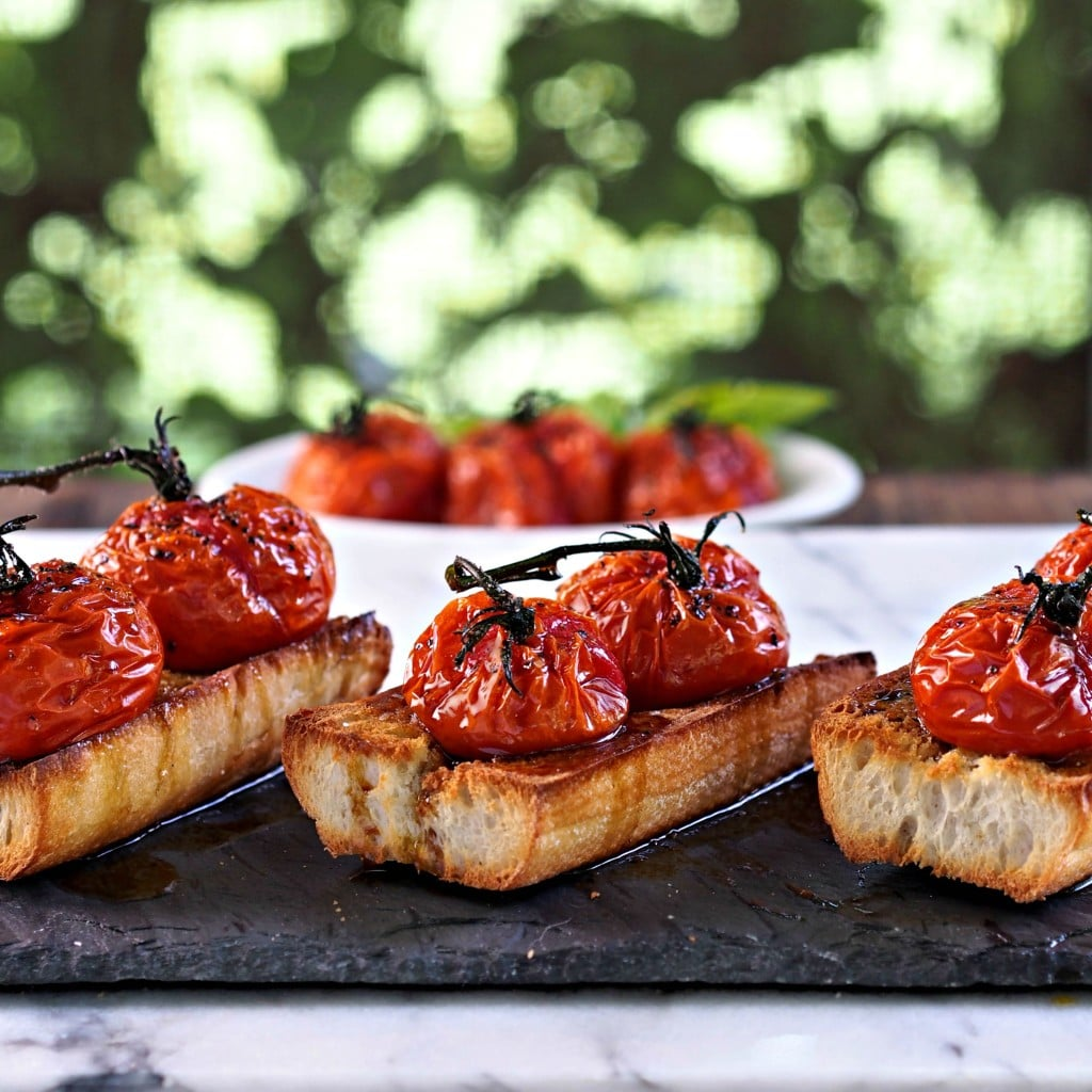 Roasted Tomato Bruschetta - Simply Sated
