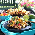 Grilled Tequila Lime Chicken Nachos. Tequila-Lime Chicken ingredients in grilled nacho form: chips, spicy chicken & rice, beans, corn, tomatoes & cheese. Simply Sated