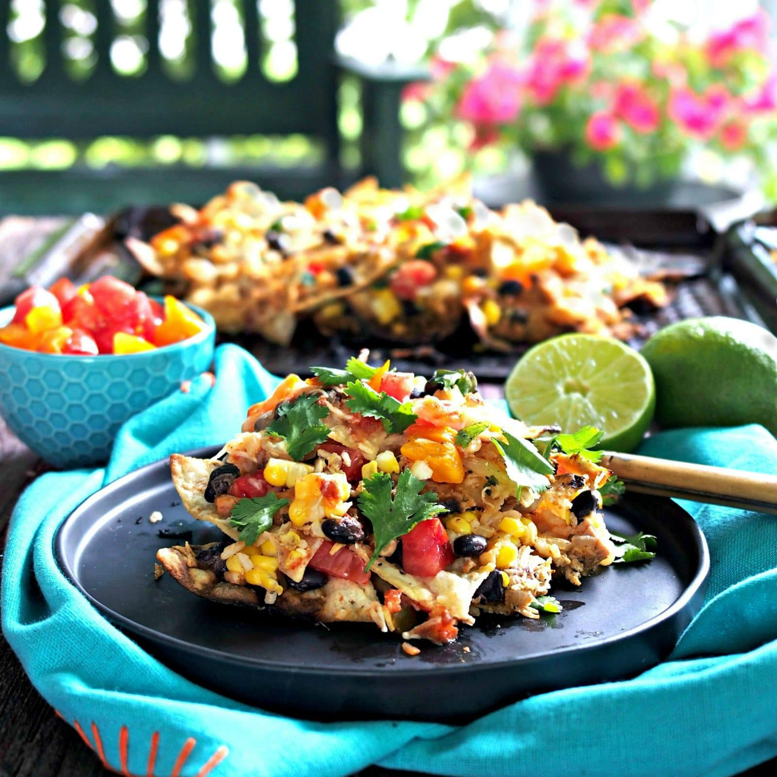 Grilled Tequila Lime Chicken Nachos - Simply Sated