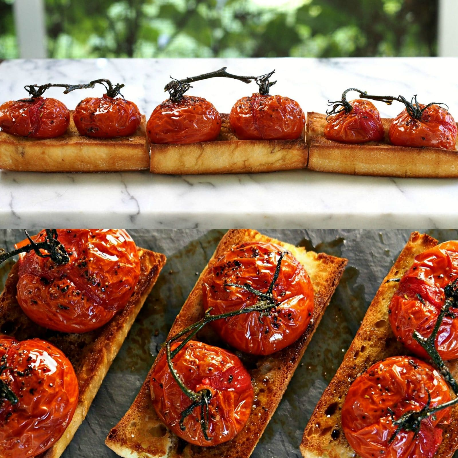 Roasted Tomato Bruschetta Simply Sated