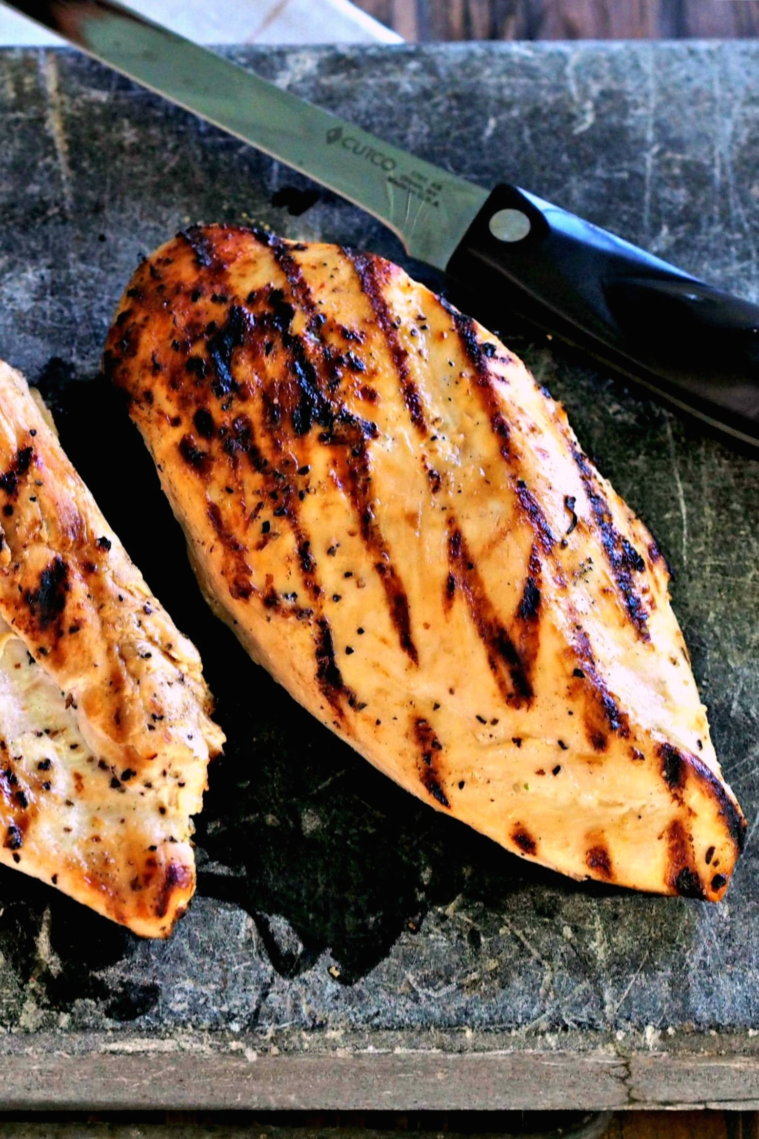 Perfect Skinless Boneless Grilled Chicken. Tenderized in buttermilk then grilled, these chicken breasts are tender, juicy, smoky, full of flavor & perfect. Simply Sated