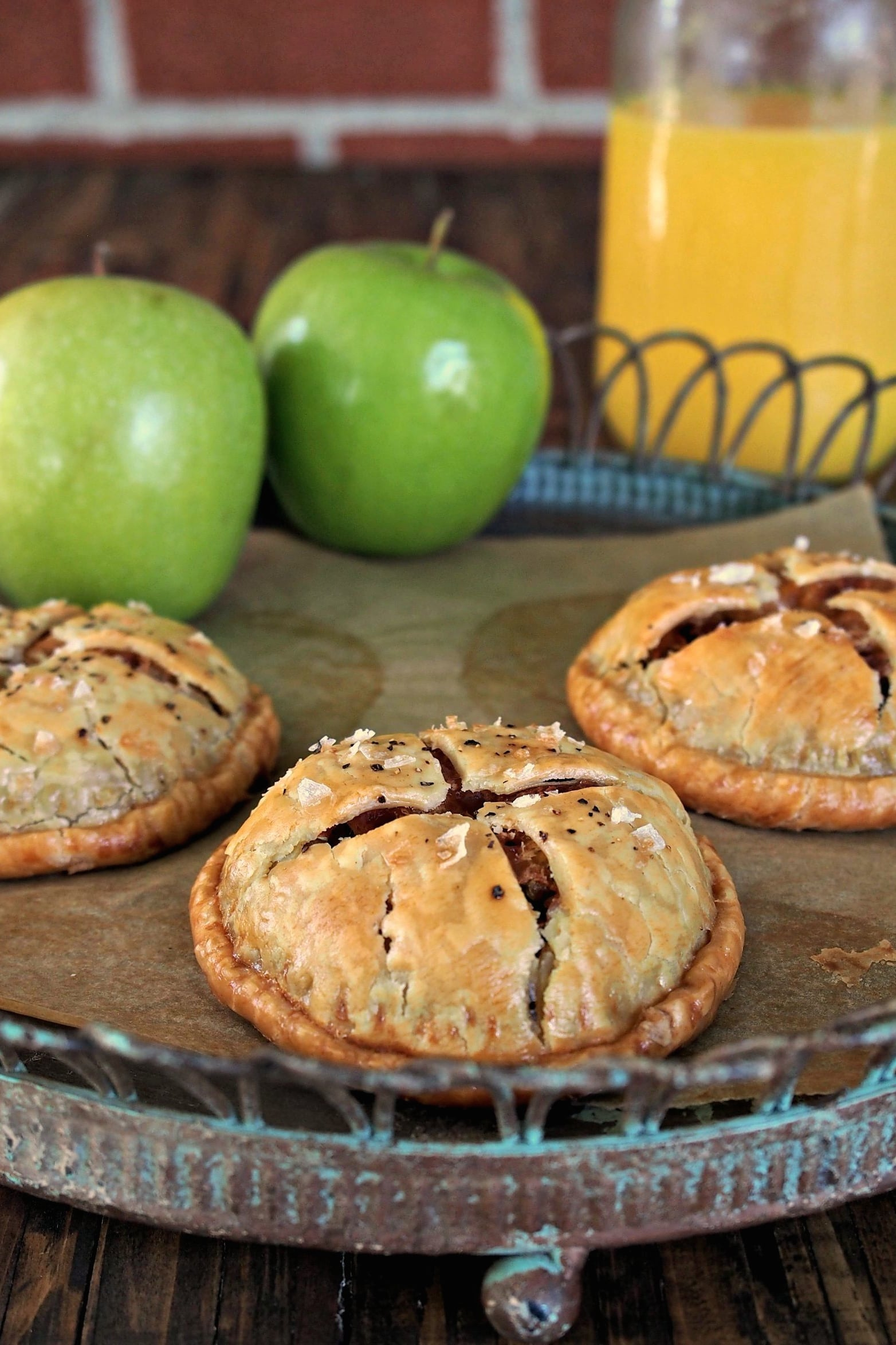 Chicken Sausage Hand Pies. Simply delicious. Jones Dairy Chicken Sausage Patties, apples & onions in mini pie form. A terrific breakfast for any morning. Simply Sated (sponsored by Jones Dairy Farm)