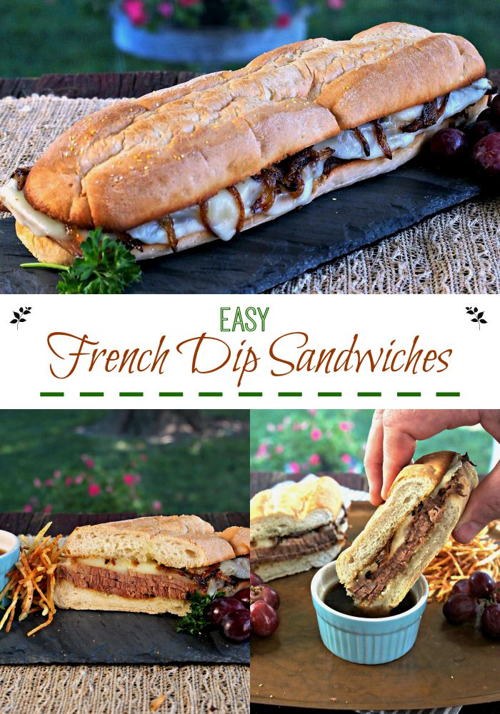 Easy French Dip Sandwiches. Slow-cooked w/seasoned beef broth until tender. Served with melted cheese & crispy shallots on buttered, toasted buns w/au jus. Simply Sated