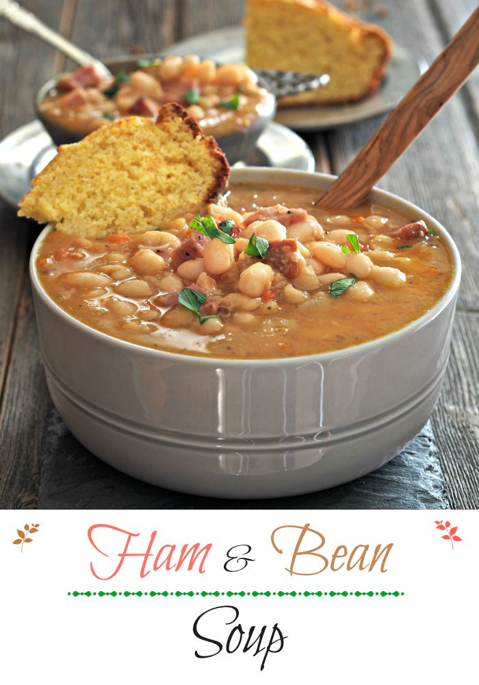 Classic Ham & Bean Soup. White beans & ham simmered w/onions, carrots, seasonings and a few secret ingredients until magic happens. Soups on folks! Simply Sated