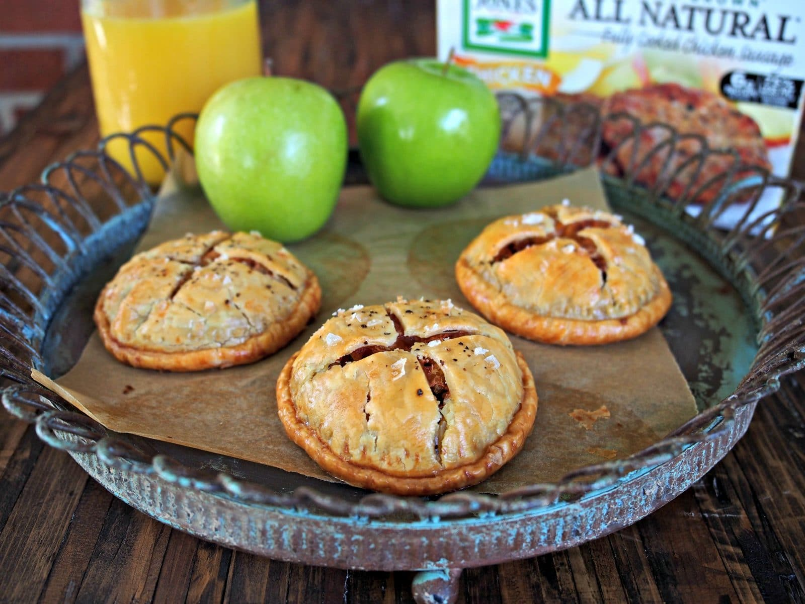 Chicken Sausage Hand Pies. Simply delicious. Jones Dairy Chicken Sausage Patties, apples & onions in mini pie form. A terrific breakfast for any morning. Simply Sated