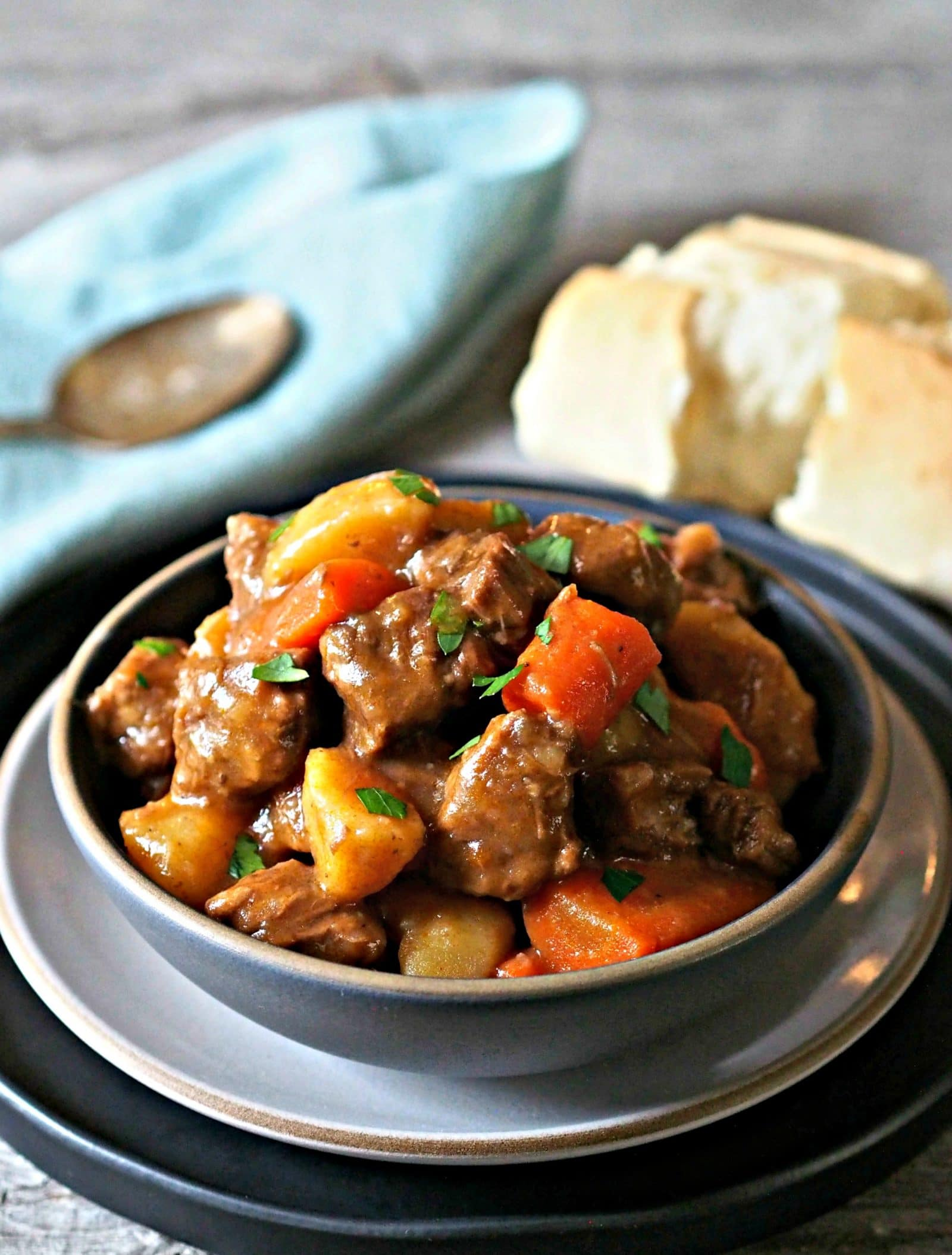"""""""Stewed"""" Beef Stew. A little bit of wine, a bottle of beer, beef, vegetables and the perfect seasonings work together to create this unforgettable stew. Simply Sated"""
