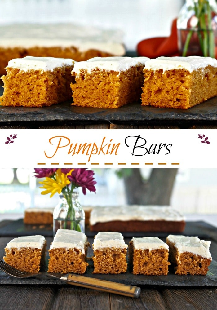 Pumpkin Bars. Pumpkin sheet cake made with pumpkin puree & fall spices then topped w/creamy, tangy, perfect cream cheese frosting. The ideal fall dessert. Simply Sated