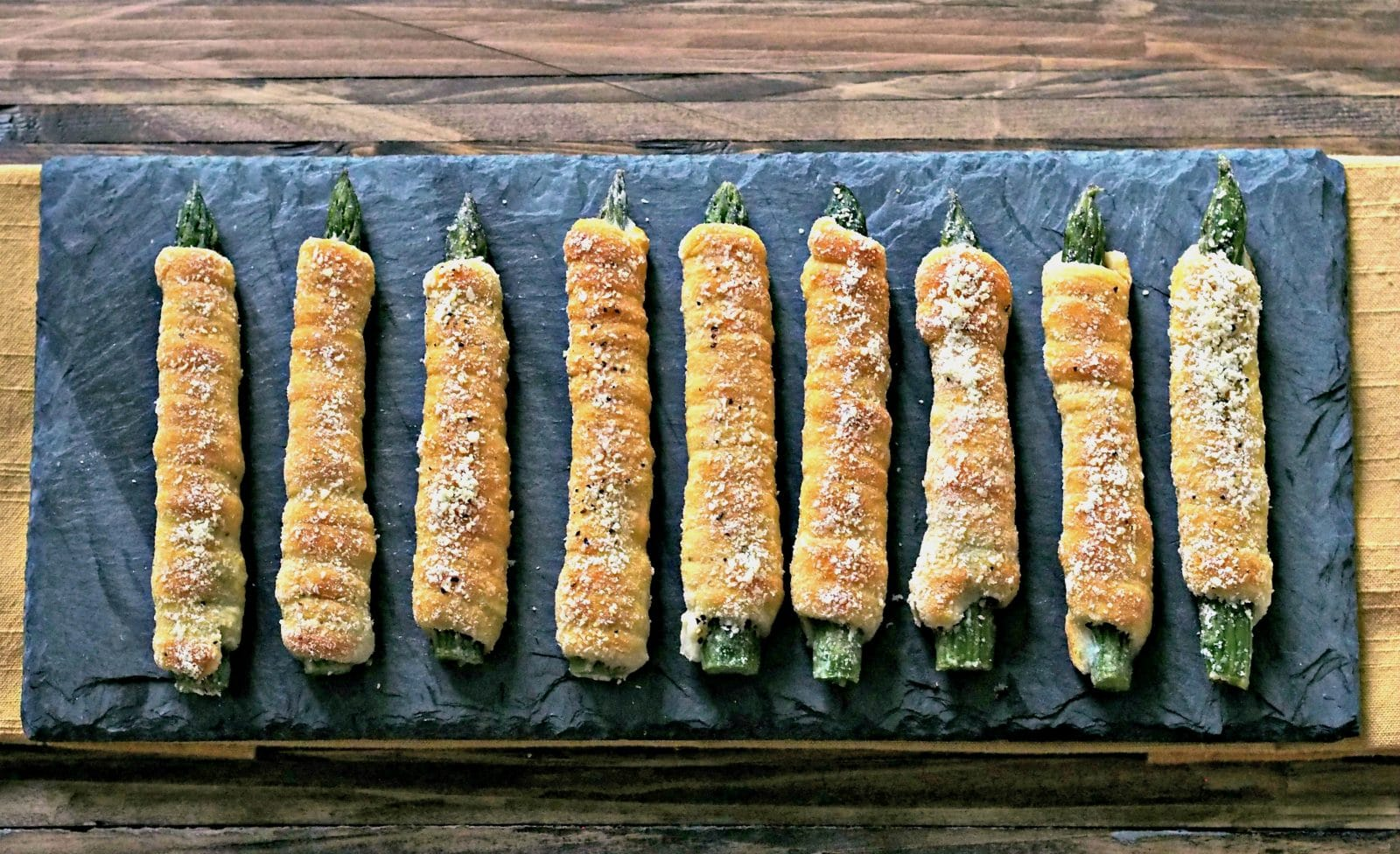 Crescent-Wrapped Asparagus with Boursin. Asparagus wrapped with crescent rolls spread with Boursin cheese then baked.Healthy, easy side, appetizer or snack. Simply Sated