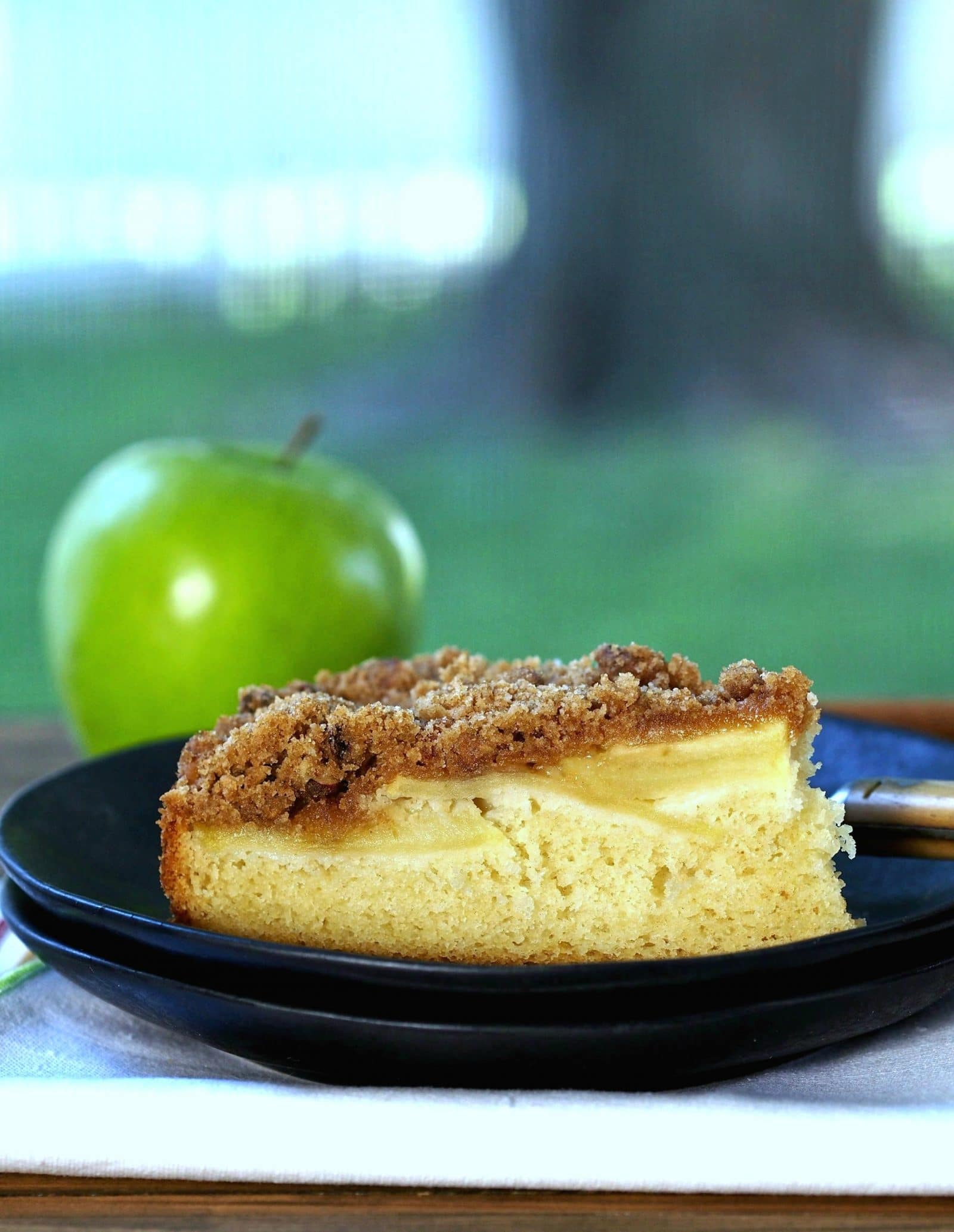 Apple Streusel Cake. Tender cake baked with sliced fresh apples & topped with a cinnamon, pecan, brown sugar streusel. Perfect as a dessert or coffee cake. Simply Sated