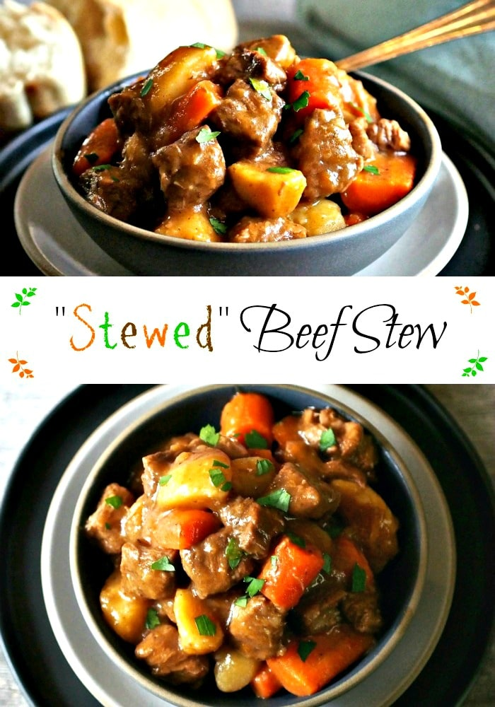 """Stewed"" Beef Stew. A little bit of wine, a bottle of beer, beef, vegetables and the perfect seasonings work together to create this unforgettable stew. Simply Sated"
