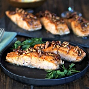 Glazed Salmon - an incredibly flavorful, versatile dish. It is a dish that takes 10 minutes to prep and 10 minutes to cook. Easy, beautiful and delicious. Simply Sated