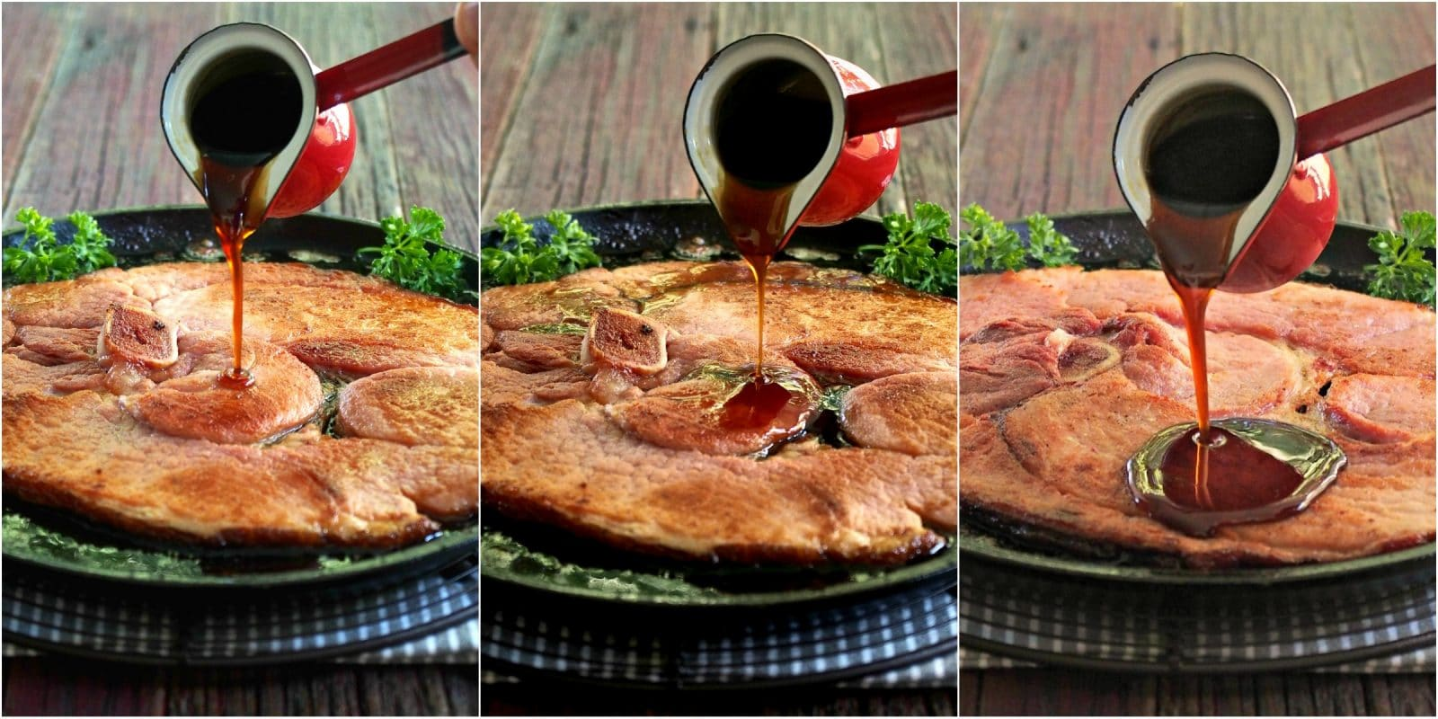 Fried Ham Steak with Cider Ginger Glaze - a simple, flavorful, 15-minute, one-skillet meal. Serve the delicious glaze with any pork, ham or poultry. Simply Sated
