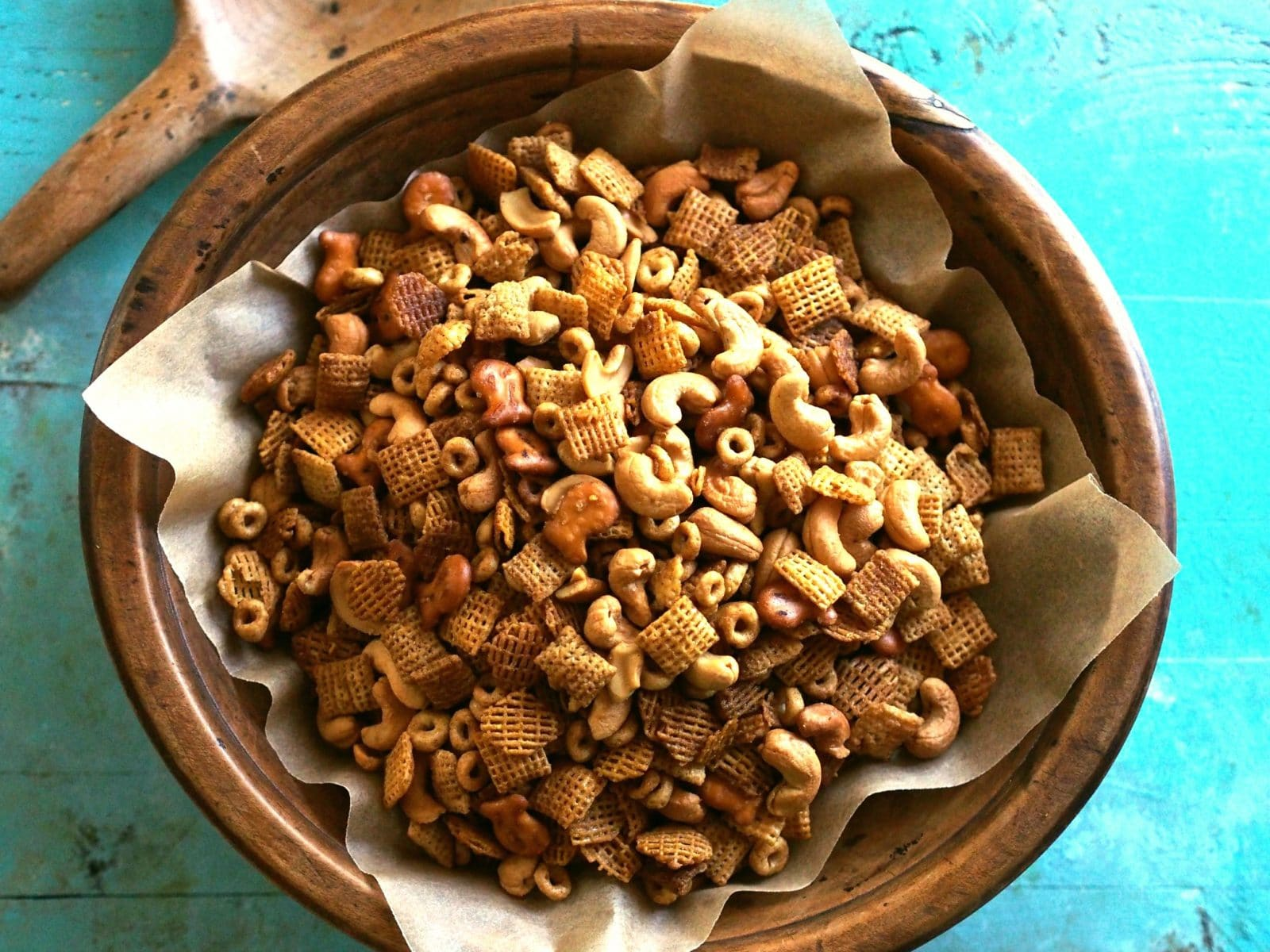 My Famous Chex Party Mix. Original and Honey flavored Chex and Cheerios, cashews and pretzels combined with the perfect seasonings. This stuff is addicting. Simply Sated