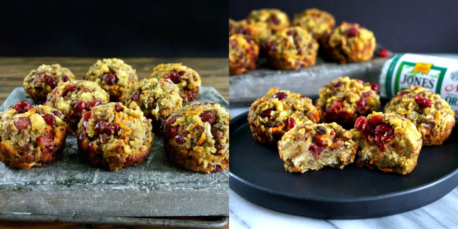 Cranberry and Cornbread Stuffing Muffins with Jones Sausage. Cornbread stuffing mixed with sausage, dried cranberries, shredded carrots & toasted pecans. Simply Sated