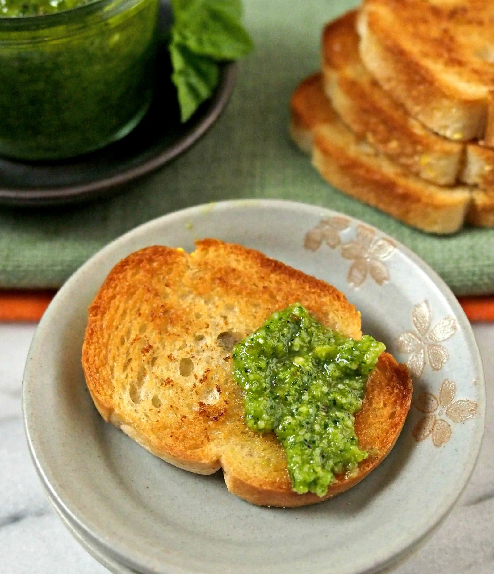 Basic Pesto. The perfect pesto recipe to use as the base to create your favorite pesto - just substitute other greens, nuts, cheeses and seasonings. Simply Sated