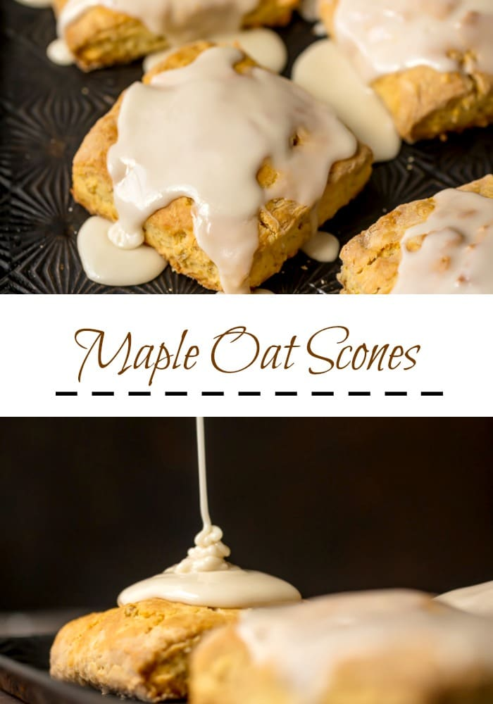 Maple Oat Scones. A slightly sweet, crunchy (on the outside), tender (on the inside) scone filled with oats and topped with maple glaze. Simply Sated