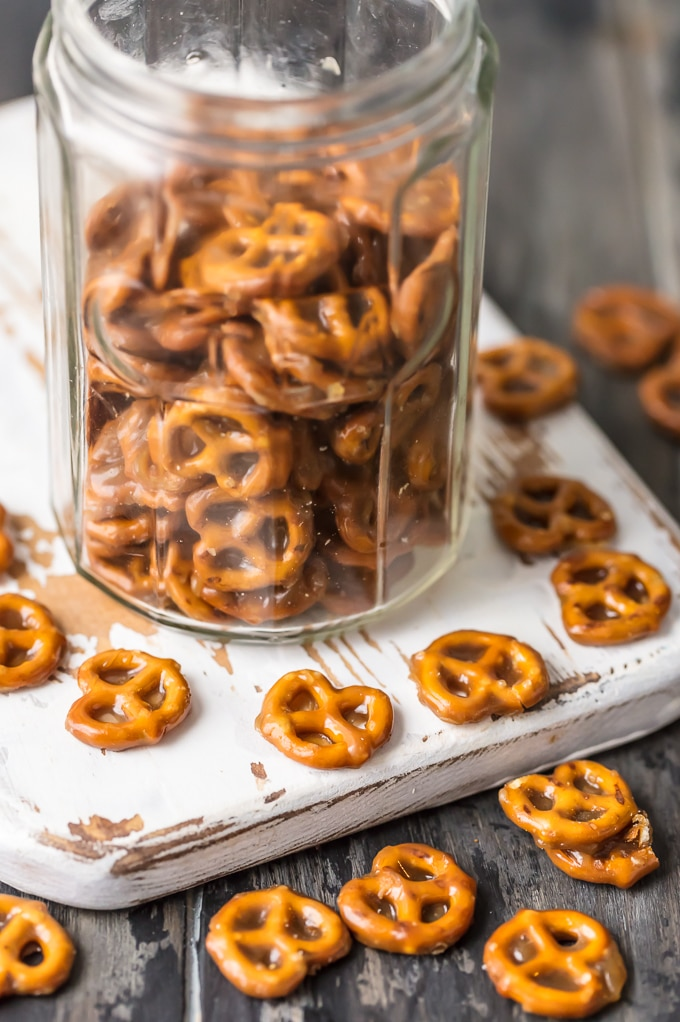 Butter Toffee Pretzels. Mini pretzels dipped in butter toffee. The perfect sweet & salty treat to satisfy everyone's sweet & salty craving. Easy & addicting. Simply Sated