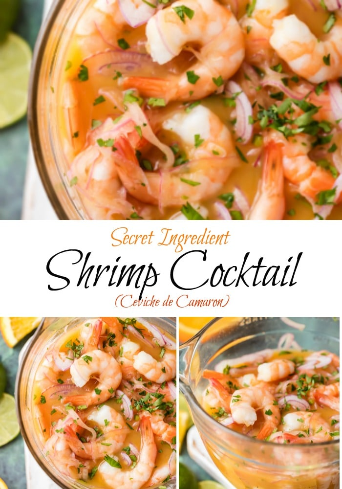 Secret Ingredient Shrimp Cocktail (Ceviche de Camaron) is made by marinating cooked shrimp in citrus juices and adding onion, jalapenos, ketchup and a few other ingredients. The secret ingredient in this shrimp cocktail is using orange & lime juices which results in the best shrimp cocktail - anywhere. Enjoy! Simply Sated