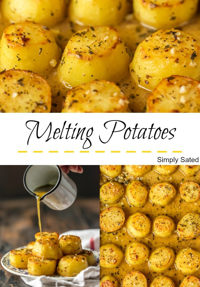 Melting Potatoes have crispy outsides, creamy soft insides and are surrounded by an herby, buttery, savory sauce. They are easy and always get rave reviews. Melting Potatoes fit right in at any family meal or served on a silver platter at an elegant dinner party. Enjoy! Simply Sated