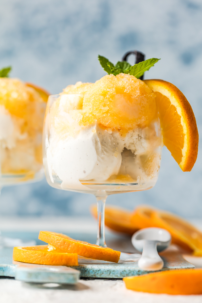 Orange Creamsicle Granita-made w/freshly squeezed orange juice, a touch of sugar & vanilla ice cream. It's even better than an ice cream truck Creamsicle. Simply Sated